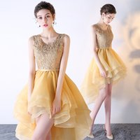 Wholesale High Low One Shoulder Dresses - Scoop Neck Lace Tulle Prom Dress New High Low Party Dress With Open Back Gold Prom Gowns