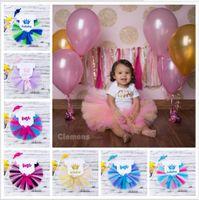 bebek örme taç toptan satış-18 Renkler ile Bebek Kız Taç Romper Gökkuşağı Tutu etek Setleri kumaş çiçekler bantlar 3 adet Set Çocuk El Yapımı el-örme etek Bez