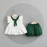 Wholesale cute bow shirts - NEW girs Kids sets 100%Cotton Bow design summer girl's set causal girl t shirt + short kids clothing