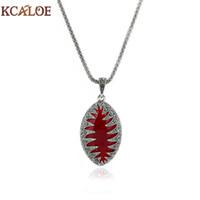 siyah taş demeç kolye toptan satış-KCALOE Vintage Kırmızı Taş Bildirimi Kolye Kolye Antik Gümüş Renk Siyah Kristal Rhinestone Zincir Kadın Kolye Collares