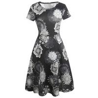 платья для длинных колен оптовых-Kenancy женщин с коротким рукавом абстрактная печать эластичная одежда для работы коктейль повседневная Fit и Flare колен платье