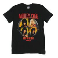 camisetas de encargo de la moda al por mayor-Motley Crue grito en el diablo 1983-84 Tour camiseta negra nueva reedición oficial para hombre 2018 moda marca camiseta Tops camiseta personalizada