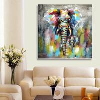 estilos de diseño de habitaciones al por mayor-Tipo abstracto del elefante Pintura al óleo Estilo de la historieta Pinturas Sala de estar sin marco Lienzo Arte de la pared Decoración Cuadros Diseño realista 28hy jj