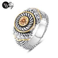 старинные рождественские подарки оптовых-UNY Jewelry Ring Vintage Antique Rings Designer Fashion Brand Hardy Womens CZ Rings Femme Wedding Christmas Valentine Gifts Ring