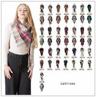 Wholesale oversize plaid scarf online - 28 Styles Winter Plaid Scarf Triangle Tassel Scarves Oversize Blanket Scarf Shawl Fashion Plaid Shawls Thick Warm Scarf CCA10403