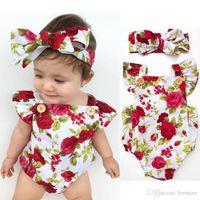 Wholesale Red Spandex Jumpsuit - Baby Clothes Factory Newborn Babies Girls Clothes Flower Jumpsuit Bubble Romper Bodysuit + Headband Outfits