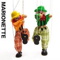 juguetes de muñecas payaso al por mayor-Juguetes de la marioneta del payaso de madera 2pcs / lot / los niños regalos de la Navidad / historia dicen la muñeca de la felpa de la marioneta de la sombra, envío libre
