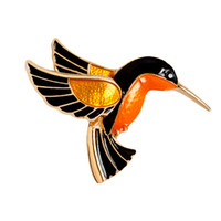 Wholesale crane wedding - Colorful Glaze Flying Birdie Red-crowned Crane Flamingo Metal Bird Brooch Pins Dress Jacket Pin Badge Gift Jewelry