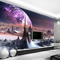 фото фото оптовых-Пользовательские фото обои 3D стерео Вселенная звезды настенная роспись искусства настенная гостиная диван спальня телевизор фон 3D настенная обои