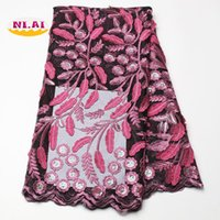 fabric stores NZ - Online Fabric Store Fushia Pink Lace Fabrics For African Parties, Mesh Fabric Embroidery Sequin Materials MR1358B