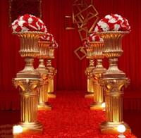 ingrosso romanzo di plastica di nozze-Resina aureate colonna romana di piombo da sposa in plastica rinforzata con fibra di vetro vaso di fiori