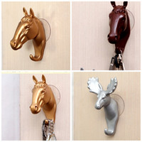 Wholesale Resin Animal Heads Wholesale - Creative Animal Head Hook Handy Resin Pothook For Wall Hooks Decoration Home Essential Tool Bag Coat Super Organizer 5 1sx Y