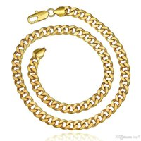 Wholesale Figaro Chain 8mm - 2018 8MM 18k gold plated fashion Flat figaro chain for men Twisted rope chains necklaces charms jewelry High quality KN837