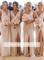 bridesmaid dress front slit toptan satış-2018 Yeni Şampanya Gelinlik Modelleri Şifon Derin V Boyun Ön Yan Yarık Yüksek Bölünmüş Artı Boyutu Hizmetçi Onur Elbise Düğün Konuk Elbise BC0219
