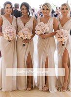 платья с длинными рукавами оптовых-Дешевые платья шампанского невесты шифон глубокий V-образным вырезом спереди сбоку высокий сплит плюс размер фрейлина свадебное платье для гостей BC0219