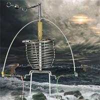 anzuelo automático al por mayor-Doble Gancho de Acero Inoxidable Pescado Lanzador Multifunción Dispositivo de Pesca Automático Engranaje Perezoso Alarma Aparejos de Pesca Ganchos 20bs dd