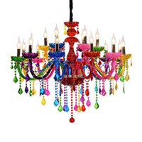 Wholesale bedroom lamps european for sale - Group buy Colorful Crystal Chandelier Bar Candle Crystal Lamp European Engineering Lamp Cafe Chandelier lampadari