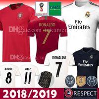 Wholesale Real Football Jerseys - 18 19 Real Madrid Soccer Jersey CR7 Shirt Ronaldo Kroos Bale Sergio 2018 2019 World Cup Portugal ASENSIO ISCO PEPE SILVA Champions Football