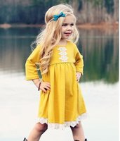 Wholesale fall girl clothes resale online - Sweet Girls Cotton Dresses with Lace Fall Kids Boutique Clothing America Fashion T Little Girls Long Sleeves Dresses