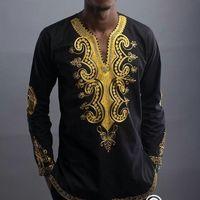 Wholesale folk costumes - Hot New African Style Men and Women Euramerica Ethnic Africa Folk Printing V-neck Long Sleeve Shirts Dashiki Nation Costume