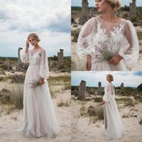 Wholesale fairy colorful dress resale online - 2019 Fairy Sheer Long Sleeves Tulle Bohemia Wedding Dresses Lace Applique Floor Length Summer Beach Wedding Party Bridal Gowns