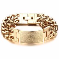 ingrosso braccialetto d'argento d'argento dell'annata-Braccialetto in acciaio inossidabile da uomo in oro argento da uomo vintage Bracciale in argento a due fili con cinturino in argento a due file