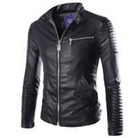 siyah uzun deri ceket toptan satış-Sonbahar Kış Lüks Pu Deri Ceket Erkekler için Uzun Kollu Motosiklet Ceket Erkek Şık Slim Fit Ceket Siyah Beyaz Veste Cuir Homme M-2XL
