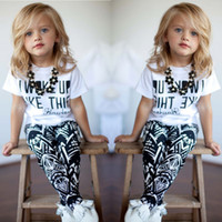 Wholesale Kids Leopard Print Pants - Summer I Woke Up Like This Letter Geometry Printing Children Girls Tshirt Pants 2pcs Sets Kids Tee Shirt Tops Trousrs Outfits Casual C068