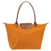 Wholesale cheap red handbags - Cheap Women's Stylish Waterproof Nylon Shoulder Beach Bag Sale Drawstring Large bags Long Handle Folding Tote Orange Peach Handbags women