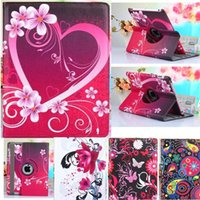 Wholesale floral ipad cover case stand - For iPad Air 2 Pro 9.7 2017 Mini 2 3 4 360 Rotating Flower Flip PU Leather Tablet PC Stand Case Cover
