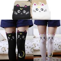 ingrosso calze di gatto nero-Calze Calze Sailor Moon Cat Luna Calze Collant Anime Puntelli Cosplay Nero Bianco