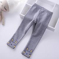 bebek tavşan pantolonu toptan satış-2018 Yeni kış Çocuk Artı kadife kalın Kızlar pantolon çocuk çocuklar Karikatür tavşan pamuk sıcak Tayt Prenses Bebek pantolon