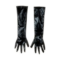 siyah seksi eldivenler toptan satış-Yetişkin Seksi Uzun Lateks Eldiven Siyah Bayanlar Hip-pop Fetiş Faux Deri Eldiven Kulübü seksi Cosplay Kostümleri Aksesuar giymek