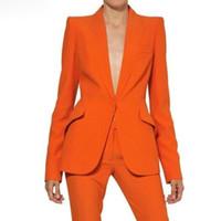 formale frauen tuxedos großhandel-Frauen-Hosen-Klage-Damen-nach Maß formale Geschäfts-Büro-Smoking-Jacke + Hosen-Klagen weibliche Bürouniform