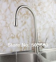 Wholesale Brushed Nickel Pull Out Faucets - Fashion Pull out Swivel Brushed Nickel Brass Kitchen Faucet Spout Vessel Basin Sink Double Handles Deck Mounted Mixer Tap MF-454