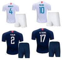 Wholesale united states uniforms - 18 19 United States Home Away Soccer Jerseys Shorts 2018 PULISIC DEMPSEY PULISIC WOOD Football Kits Adults Thai Quality Sports Uniforms Suit
