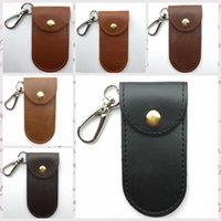 Wholesale Leather Knife Cases - Loop Leather Sheath Knife Flashlight Holder U Disk Storage Case With Special Cover Portable Key Buckle Tool Pouch 8.5*4.5cm AAA44