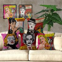 Wholesale sofa pillow pop art for sale - Monroe Hepburn pop art cotton and linen sofa pillowcase coffee shop pillowcase M1004 pillow cover cushion cover
