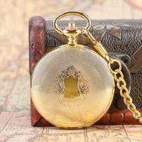 antika çağdaş antetli saatler toptan satış-Lüks Altın Kolye Vintage Otomatik Mekanik Pocket Watch Antik Kalkan Steampunk Fob Zincir Hediye Erkek Kadın Için
