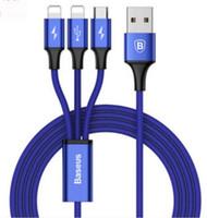 cm iphone venda por atacado-Baseus 120 cm cabo usb para iphone x 8 7 6 carregador de carregamento 3 em 1 cabo micro usb para android usb tipo c tipo c-telefone móvel cabos