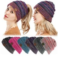 Wholesale knitting hats for women - Fashion CC Ponytail Beanies Hat Women Crochet Knit Cap Autumn Winter Skullies Beanies Warm Caps Knitted Hats For Ladies KKA5583