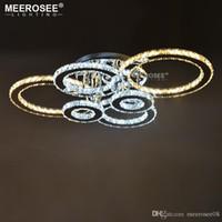 elmas yüzük led kristal avizeler toptan satış-Modern LED Avizeler Işık Paslanmaz çelik Kristal Lamba Oturma Odası için Elmas Yüzük LED Lustres Lamparas de techo Aydınlatma