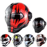 Wholesale Motocross Helmets Full Face - SOMAN Black IRONMAN Iron Man Helmet Motorcycle Helmet Motorbike Capacetes Casco Retro Casque Motocross Helmet