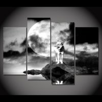 Wholesale canvas painting wolves for sale - Group buy 4 Piece Canvas Painting Wolf On The Rock Moon Night HD Posters And Prints Canvas Painting For Living Room Wall Art Painting