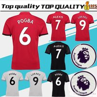 Wholesale Wrinkle Patches - POGBA Home red Soccer Jersey 17 18 have Premier League patches LUKAKU away black soccer shirt 2018 ALEXIS third Football