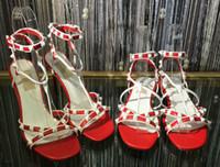 Wholesale fine lace - 2018 fashion leather sandals women's fine high-heeled shoes Suede white rivet lace women's shoes flat lace casual beach sandals