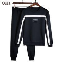 Wholesale long sleeve underwear women - Ohi M08 Designer Tracksuit Loose Underwear for Men Women Full Long Sleeves Two Piece Bottoming -Shirt Pants Men Clothing Sets