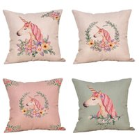Wholesale Free Cushion Cover Patterns - Hot Fashion Vintage Unicorn Pattern Pillow Case Home Party Decoration Cushion Cover Soft Gifts Free Shipping