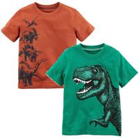 pantalones cortos verdes trajes de niño al por mayor-Green Dino Baby Boys Tees Camisas Niños Ropa Tops 0-2 Años Algodón Camiseta de manga corta para niños Camiseta para niños pequeños Traje de niños