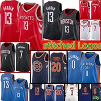 Wholesale men s basketball 13 for sale - Harden Chris Paul Carmelo Anthony Houston Rockets Jersey Russell westbrook Paul George Thunder Kevin Knox Jerseys